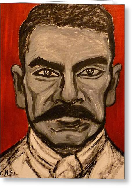 Zapata Greeting Cards - Portrait of Emiliano Zapata Greeting Card by Cindy MILLET
