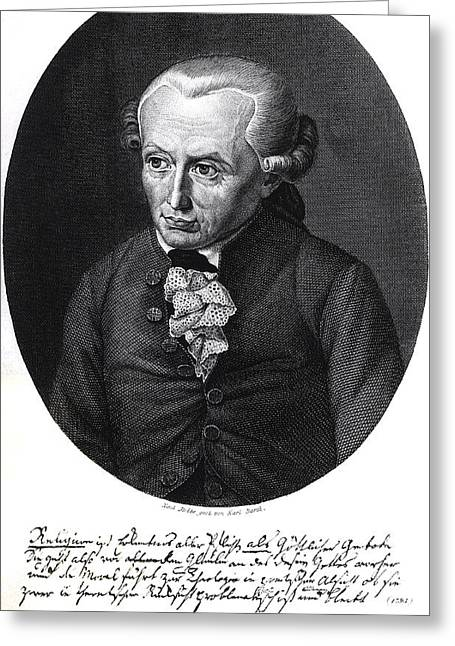 Autographed Greeting Cards - Portrait of Emmanuel Kant  Greeting Card by German School