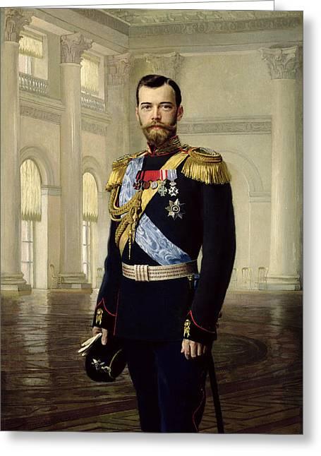 Romanov Greeting Cards - Portrait Of Emperor Nicholas Ii, 1900 Oil On Canvas Greeting Card by Baron Ernest Friedrich von Liphart