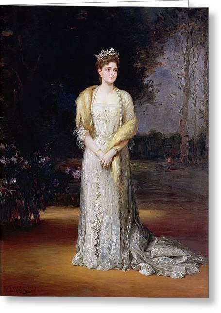 Full-length Portrait Greeting Cards - Portrait Of Empress Alexandra Fyodorovna, 1914 Oil On Canvas Greeting Card by Jakov Jakovlevich Veber