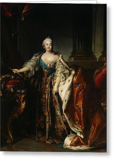 Classical Columns Greeting Cards - Portrait Of Empress Elizabeth, 1758 Oil On Canvas Greeting Card by Louis M. Tocque