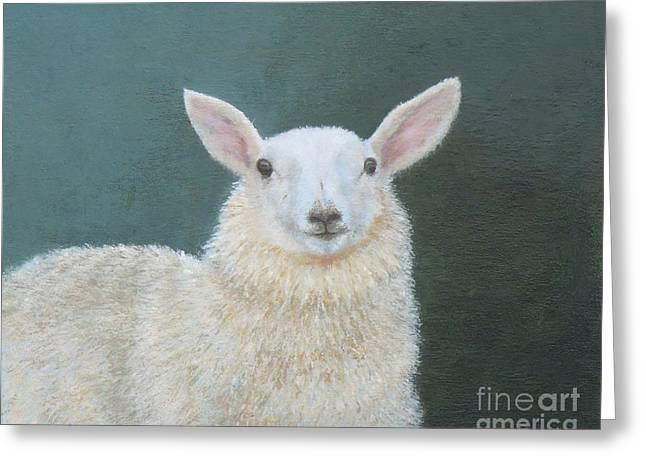 Clever Paintings Greeting Cards - Portrait of Ewe Greeting Card by Phyllis Andrews