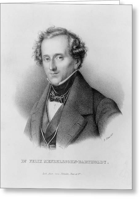Male Prints Greeting Cards - Portrait Of Felix Mendelssohn Designed Greeting Card by