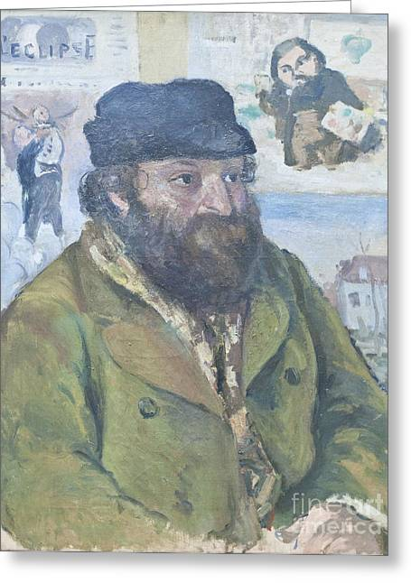 Camille Pissarro Photographs Greeting Cards - Portrait of Cezanne by Camille Pissarro Greeting Card by Roberto Morgenthaler
