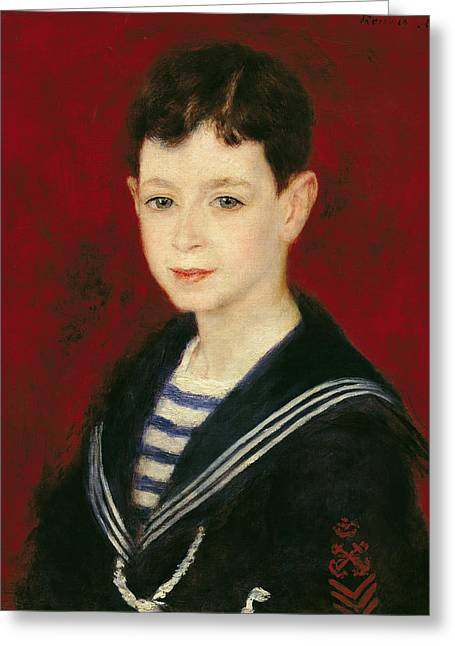 Outfit Greeting Cards - Portrait Of Fernand Halphen 1872-1917 1880 Oil On Canvas Greeting Card by Pierre Auguste Renoir