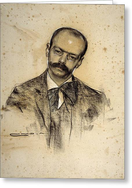 Alomar Greeting Cards - Portrait of Gabriel Alomar Greeting Card by Ramon Casas