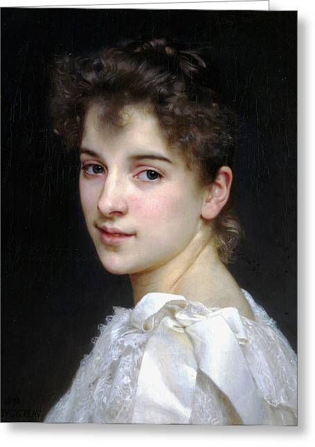 Gabrielle Greeting Cards - Portrait of Gabrielle Cot Greeting Card by William Bouguereau