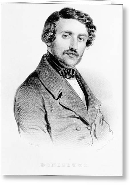 Male Prints Greeting Cards - Portrait Of Gaetano Donizetti Italian Greeting Card by Carel Christian Anthony Last