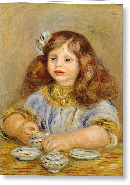 Childhood Art Greeting Cards - Portrait of Genevieve Bernheim De Villiers Greeting Card by Pierre-Auguste Renoir