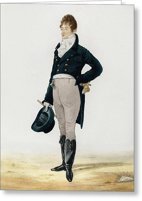 Full-length Portrait Greeting Cards - Portrait of George Beau Brummell Greeting Card by Robert Dighton