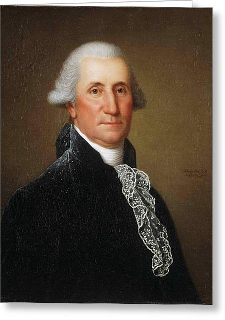 Adolph Greeting Cards - Portrait of George Washington Greeting Card by Adolph Ulrich Wertmueller