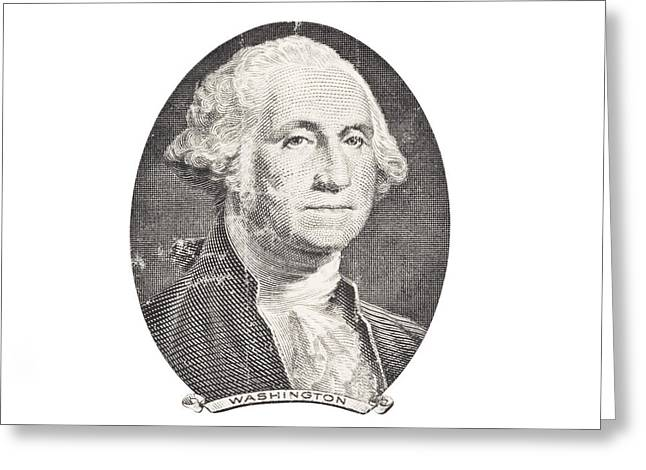 Portrait Of George Washington On White Background Greeting Card by Keith Webber Jr