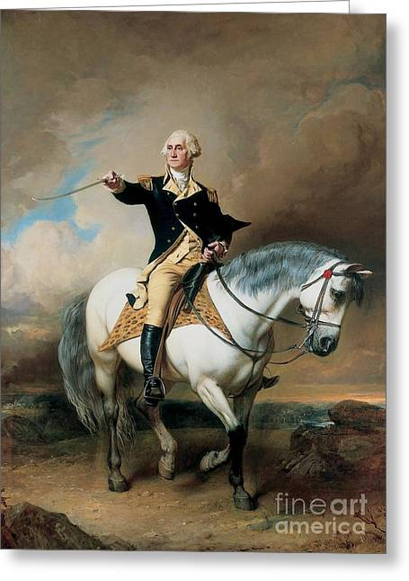 Politicians Paintings Greeting Cards - Portrait of George Washington Taking The Salute At Trenton Greeting Card by John Faed