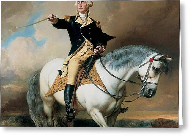 Portrait of George Washington Taking The Salute At Trenton Greeting Card by John Faed