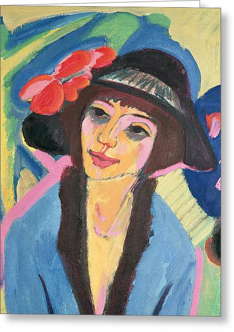 Ernst Greeting Cards - Portrait of Gerda Greeting Card by Ernst Ludwig Kirchner