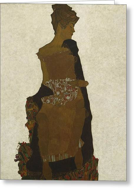 Distortion Paintings Greeting Cards - Portrait of Gerti Schiele Greeting Card by Celestial Images