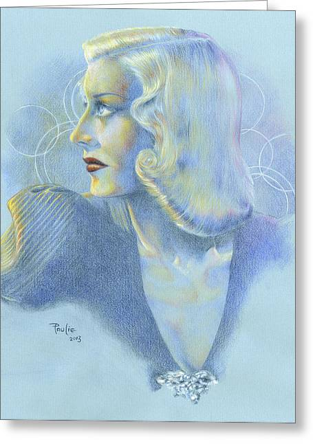 Classic Hollywood Drawings Greeting Cards - Portrait of Ginger Rogers Greeting Card by Paul Petro