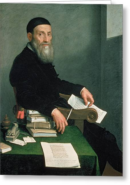 Paperweight Greeting Cards - Portrait Of Giovanni Bressani Oil On Canvas Greeting Card by Giovanni Battista Moroni