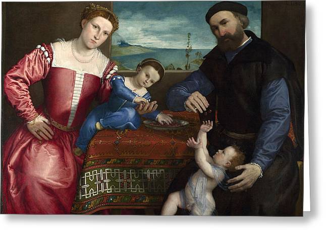 Volta Greeting Cards - Portrait of Giovanni della Volta with his Wife and Children Greeting Card by Lorenzo Lotto