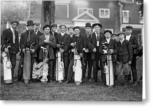 Portrait Of Golf Caddies Greeting Card by Underwood Archives