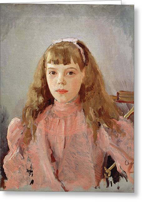 Demure Greeting Cards - Portrait Of Grand Duchess Olga Alexandrovna 1882-1960 1893 Oil On Canvas Greeting Card by Valentin Aleksandrovich Serov