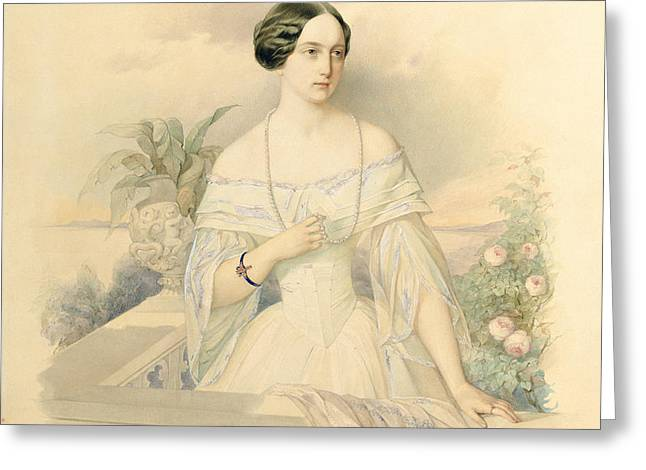 Portrait of Grand Duchess Olga Nikolaevna Greeting Card by Vladimir Ivanovich Hau