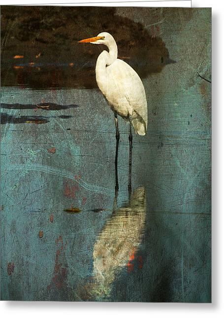 Portrait Of Great Egret Greeting Card by Cheryl Ann Quigley