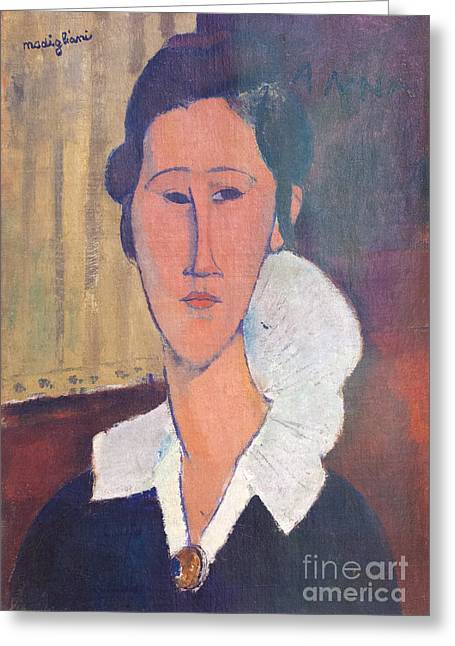 Modigliani Photographs Greeting Cards - Portrait of Hanka Zborovska by Amedeo Modigliani Greeting Card by Roberto Morgenthaler