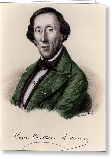 Author Greeting Cards - Portrait Of Hans Christian Andersen 1805-1875 Engraving Later Colouration Greeting Card by Johan Frederick Moller