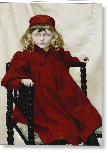 Hair Style Greeting Cards - Portrait Of Harriet Fischer, Small Three-quarter Length, Wearing A Red Dress, 1896 Oil On Canvas Greeting Card by Paul Fischer