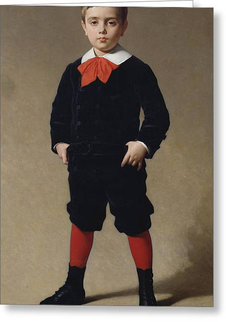 Little Boy Greeting Cards - Portrait of Henri Achille Greeting Card by Achille Zo