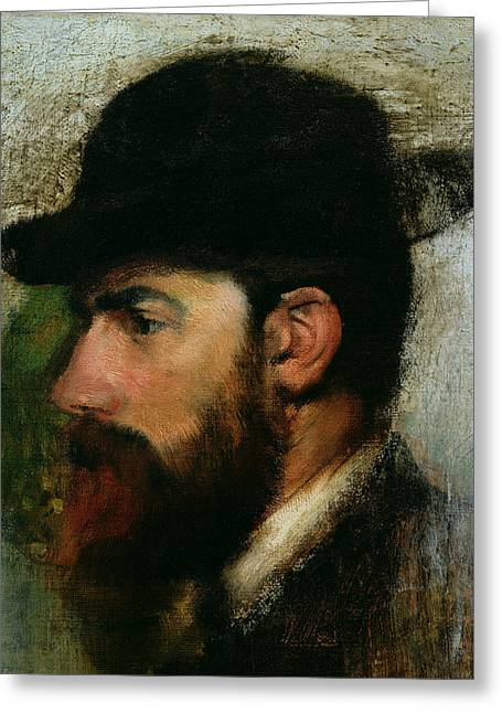 Impressionist Greeting Cards - Portrait of Henri Rouart Greeting Card by Edgar Degas