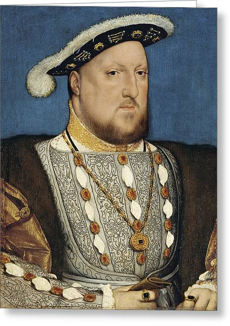 British Royalty Greeting Cards - Portrait of Henry VIII King of England Greeting Card by Hans Holbein the Younger