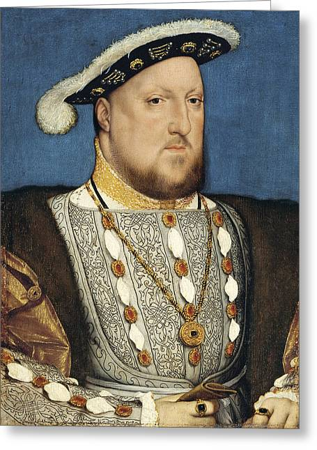 Henry Viii Greeting Cards - Portrait of Henry VIII of England Greeting Card by Hans Holbein the Younger