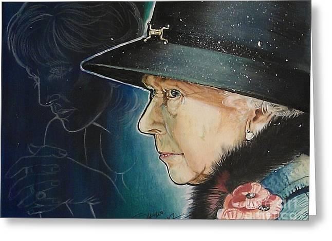 Ottilia Zakany Greeting Cards - Portrait of Her Majesty Elizabeth the Second Greeting Card by Ottilia Zakany