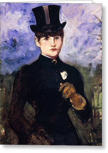 Trainer Greeting Cards - Portrait of horsewoman Greeting Card by Edouard Manet