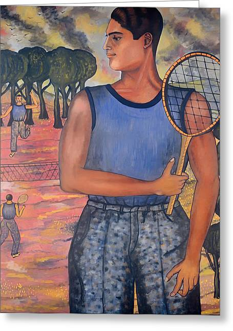 Tennis Player Paintings Greeting Cards - Portrait of Hugo Tilghman - Tennis Player Greeting Card by Abraham Angel