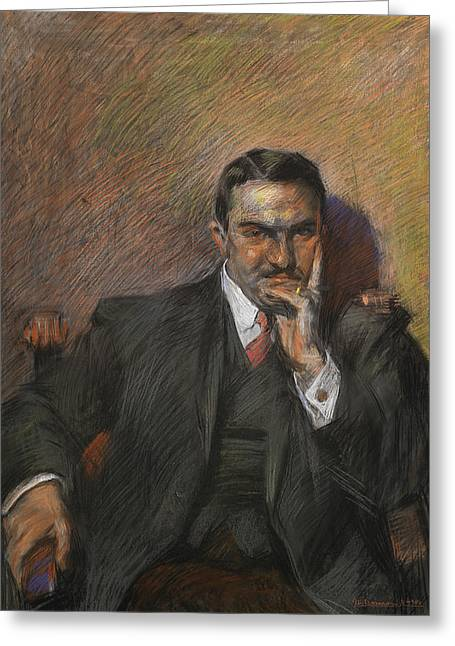 Sitting Pastels Greeting Cards - Portrait of Innocenzo Massimino Greeting Card by Umberto Boccioni
