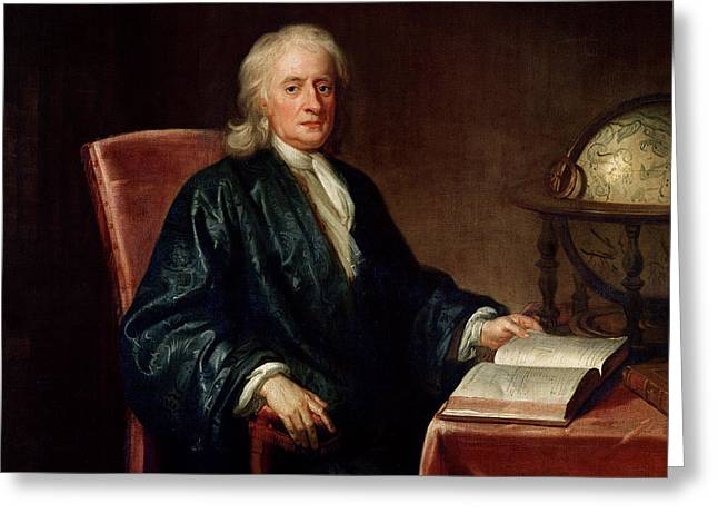 Astronomers Greeting Cards - Portrait of Isaac Newton Greeting Card by Enoch Seeman