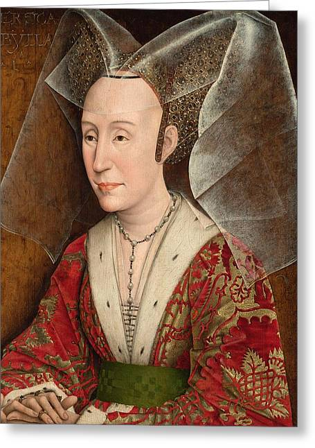Isabella Of Portugal Greeting Cards - Portrait of Isabella of Portugal Greeting Card by Rogier van der Weyden