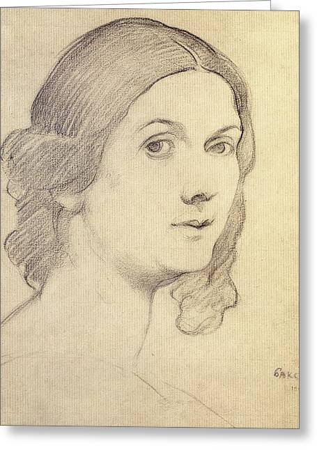 Signature Pastels Greeting Cards - Portrait of Isadora Duncan Greeting Card by Leon Bakst