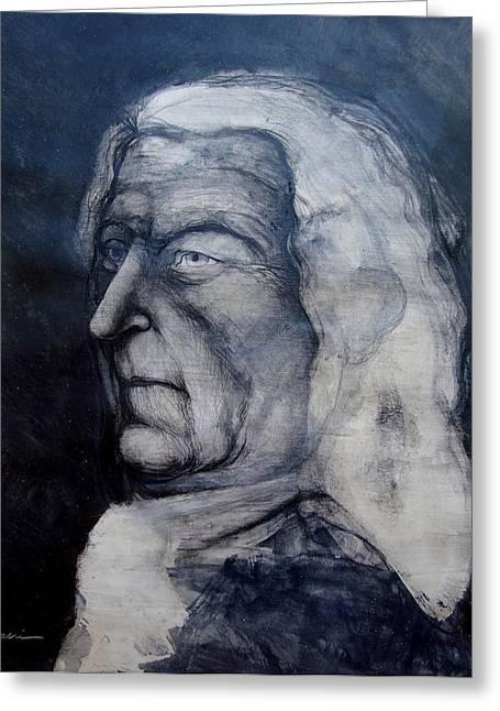 Johann Sebastian Bach Greeting Cards - Portrait of J. S. BACH Greeting Card by Gustavo Macri