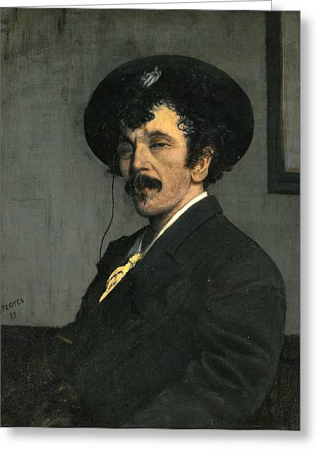 James Abbott Mcneill Whistler Greeting Cards - Portrait of James Abbott McNeill Whistler Greeting Card by Walter Greaves