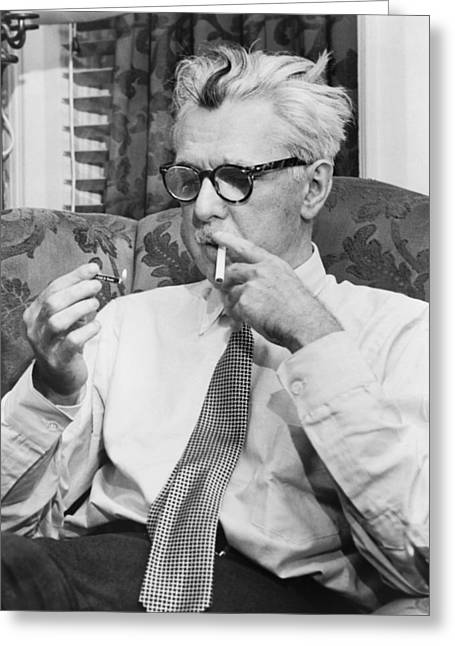 Shirt And Tie Greeting Cards - Portrait Of James Thurber Greeting Card by Fred Palumbo