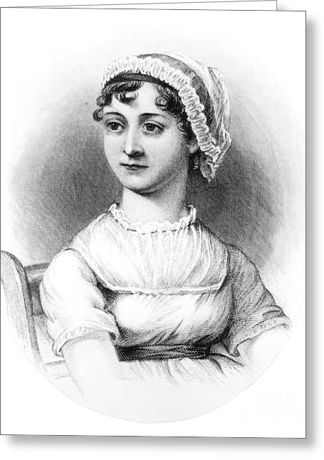 Literary Drawings Greeting Cards - Portrait of Jane Austen Greeting Card by English School