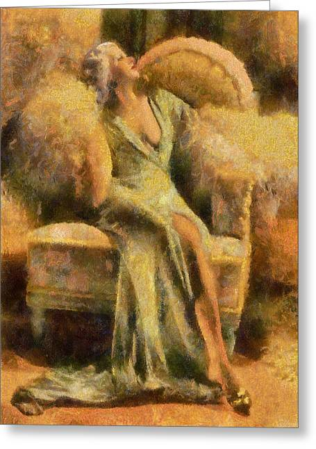 Platinum Blonde Greeting Cards - Portrait of Jean Harlow Greeting Card by Charmaine Zoe