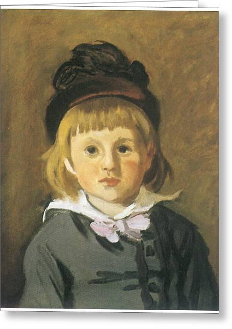 Portrait Of A Young Boy Greeting Cards - Portrait of Jean Monet Greeting Card by Claude Monet