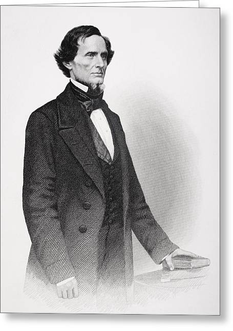 President Of America Drawings Greeting Cards - Portrait of Jefferson Davis Greeting Card by Mathew Bardy