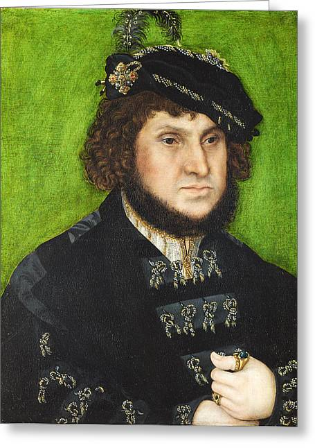 Steadfast Greeting Cards - Portrait of Johann the Steadfast Greeting Card by Lucas Cranach the Elder