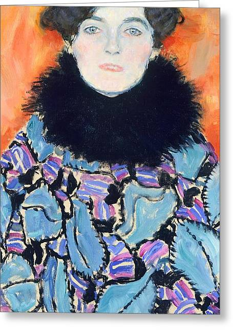 Austria Paintings Greeting Cards - Portrait of Johanna Staude Greeting Card by Gustav Klimt